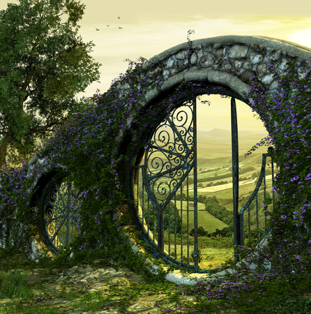 Foto de 3D render of a gate wall to a beautiful enchanted garden like landscape at dawn - Imagen libre de derechos