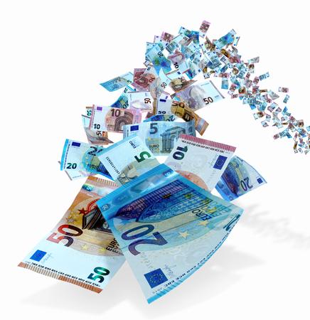 Foto de Fifties, twenties, ten and five Euro bills fly toward the camera. - Imagen libre de derechos