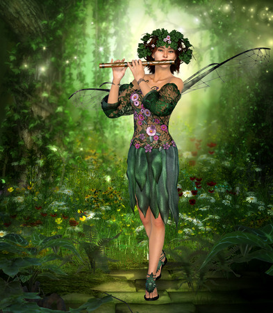 Photo for 3D rendering of a charming fairy with wreath and wings playing the flute in an enchanting forest. - Royalty Free Image
