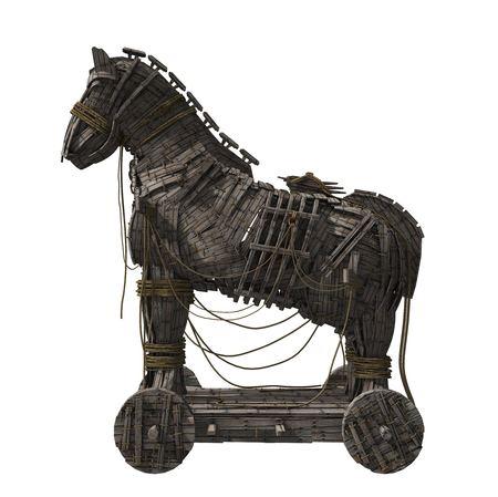 Photo pour 3D render of Homer's Trojan Horse Isolated on White Background. - image libre de droit