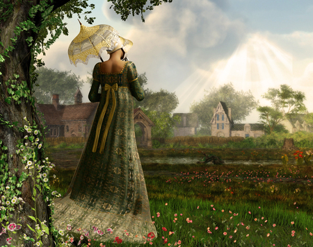 Foto de Rendered image of an elegant Jane Austen style woman strolling the countryside, Regency dress - Imagen libre de derechos