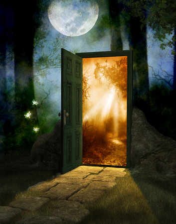 Foto de Magical fairy wood at night and full moon with a door into a new world, 3d render - Imagen libre de derechos