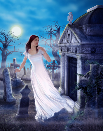 Photo for An enchanting female ghost griefing a lost love in a spooky ancient cemetary, 3d render painting - Royalty Free Image