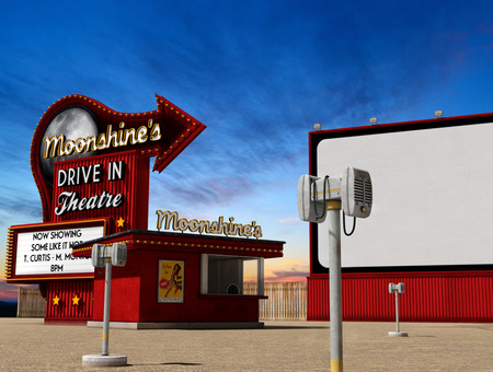 Photo pour Traditional 1950s drive-in movie theater, cinema at dusk, 3d render, illustarion - image libre de droit