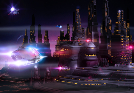 Foto de Beautiful view of a futuristic cityscape skyline at night with sky taxis and a flying police car, 3d render - Imagen libre de derechos
