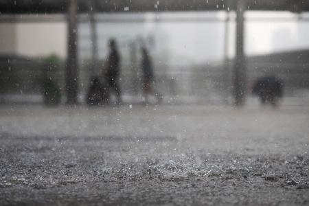 Foto de Rain drops in the water heavy on asphalt shade of black shadow and reflection of dark sky in the city. high contrast during autumn - Imagen libre de derechos