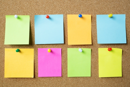 Photo pour collection of colorful variety post it. paper note reminder sticky notes pin paper blue on cork bulletin board. empty space for text. - image libre de droit