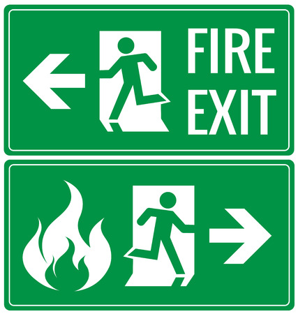 Illustration for Emergency fire exit door signs - Royalty Free Image