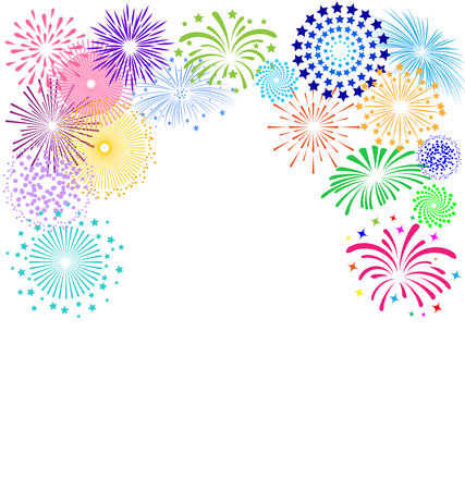 Ilustración de Colorful fireworks  frame on white background - Imagen libre de derechos