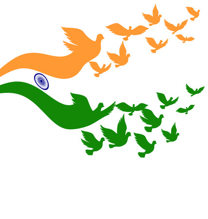 Illustration pour Abstract India flag with flying pigeon vector - image libre de droit