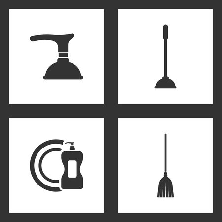 Illustration pour Vector Illustration Set Cleaning Icons. Elements of Toilet Plunger, detergent and dish and Sweeping broom icon on white background - image libre de droit
