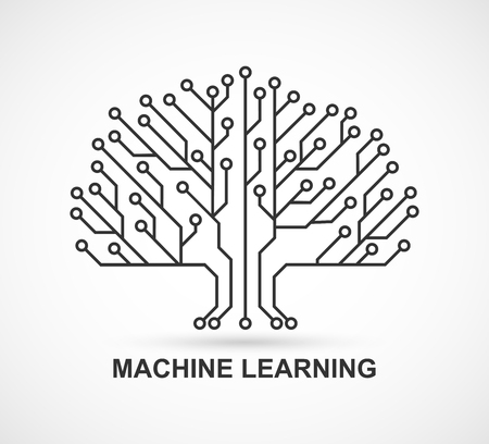 Illustration pour Machine learning. Artificial Intelligence. Technological background with a printed circuit board. - image libre de droit