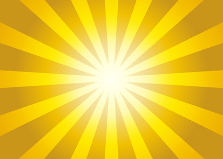 Illustration for Illustration of yellow color burst - sun rays from center to sides - Royalty Free Image