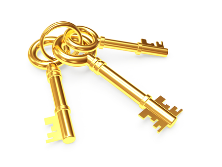 Foto de Bunch of three old golden keys isolated on white background - Imagen libre de derechos
