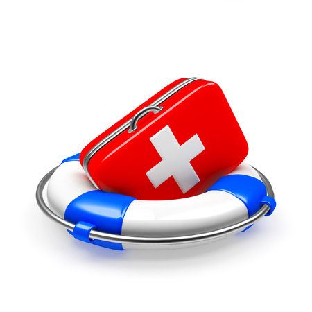 Foto de Lifebuoy with first aid kit isolated on white background. Health insurance - Imagen libre de derechos