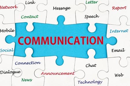 Foto de Communication concept words on group of jigsaw puzzle - Imagen libre de derechos