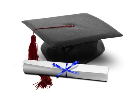 Image of graduation hat and diploma scroll