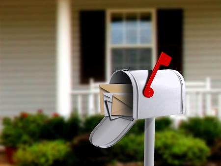 Foto de White Mail Box in Front of a House - Imagen libre de derechos
