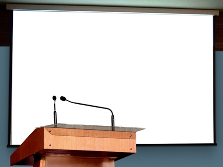 Photo pour Seminar Podium with Blank Screen - image libre de droit