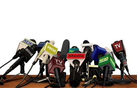 Foto per Press Media Conference Microphones - Immagine Royalty Free