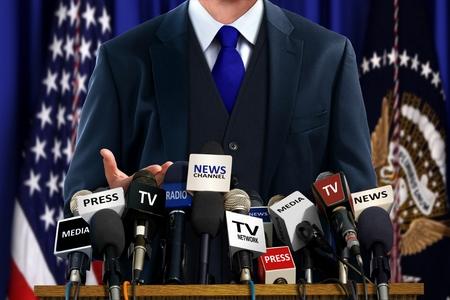 Photo pour Politician at Press Conference - image libre de droit