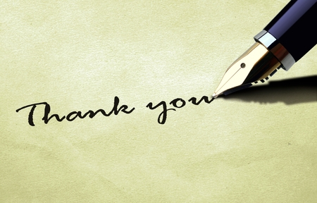 Photo for Thank you on old paper texture - Royalty Free Image