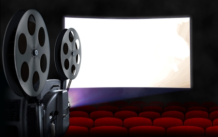Photo for Blank cinema screen with empty seats and projector - Royalty Free Image