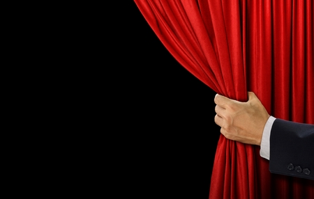 Photo for Hand open stage red curtain on black background - Royalty Free Image