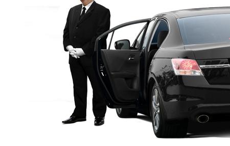 Foto de Chauffeur private service man waiting for passenger - Imagen libre de derechos
