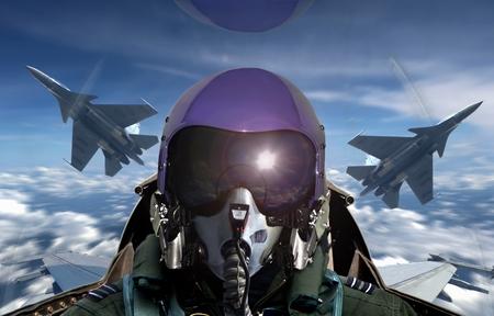 Photo pour Fighter pilot cockpit view during sunrise - image libre de droit