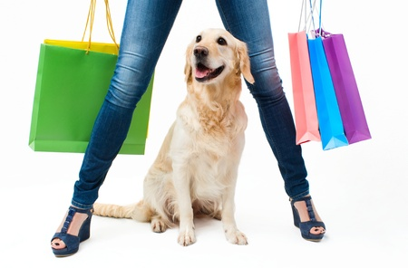 Girl in jeans with the dog and packages