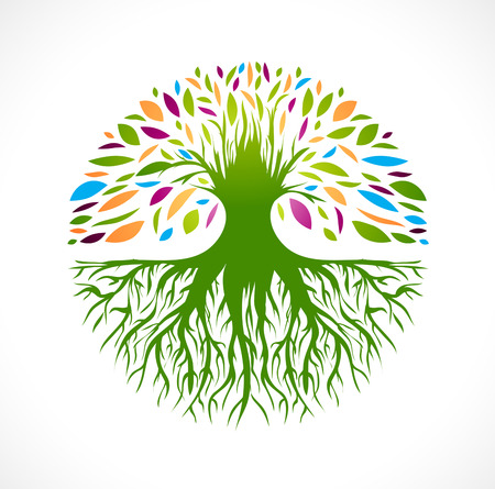 Illustration pour Illustration of Multicolored Round Abstract Vitality Tree   - image libre de droit