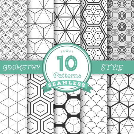Illustration for Illustration of Set of 10 Vector Seamless Geometric Lines Pattern Backgrounds for Web, Presentations, Texture. You can find fully worked patterns in swatches library - Royalty Free Image