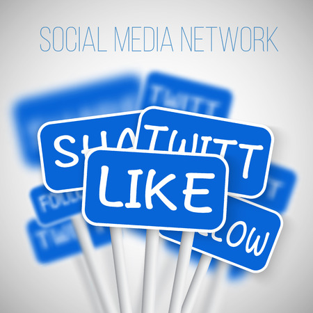 Illustration for Illustration of Set of Social Media Network Road Signs. include Like Share, Follow. For your Social Media Banner, Icon, Blog or Social Media Advertising. - Royalty Free Image