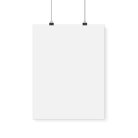 Illustration pour Illustration of Isolated Vector Poster Mockup. Realistic Paper Vertical Poster Isolated on White Background - image libre de droit