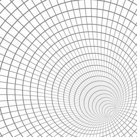 Illustration for Illustration of Wireframe Tunnel Vortex Illusion Technology Background - Royalty Free Image