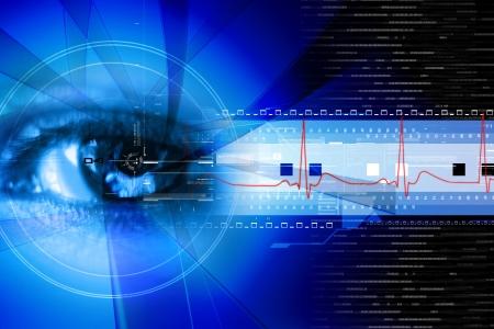 Foto de  Digital illustration of an eye scan as concept for secure digital identity - Imagen libre de derechos