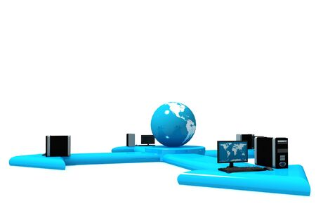 Global Computer Network in isolated background