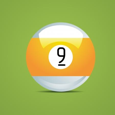 half Billiard ball number nine 9 Sport pool Game hobby cue restaurant table green