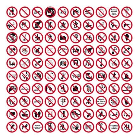 Illustration pour Prohibition signs BGV icon pictogram set collection collage - image libre de droit