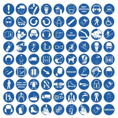 Illustration pour Commanded sign safety sign pictogram occupational safety sign General mandatory sign set collection - image libre de droit