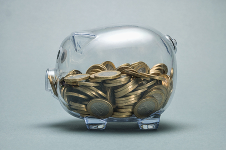 Photo for piggy bank with coins - Royalty Free Image