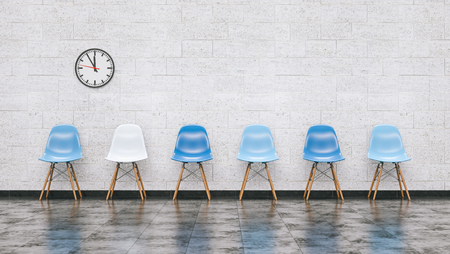 Foto de Row of blue chairs in a waiting room with wall clock, doctor and medical concept image - 3D rendering - Imagen libre de derechos