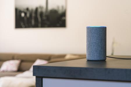 Foto de voice controlled speaker and personal assistant at home - Imagen libre de derechos