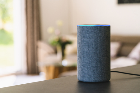Foto de voice controlled smart speaker - Imagen libre de derechos