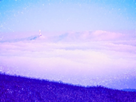 Photo for Oil painting, brush strokes. Dreamy landscape lost in thick fog. Fantastic morning glowing by gentle sunlight, foggy valley.  Blurred Background. - Royalty Free Image
