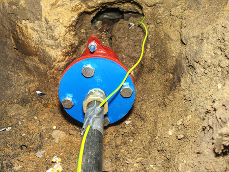 Photo pour Potable water distribution for house. Service Connection Fittings with press reducer. - image libre de droit