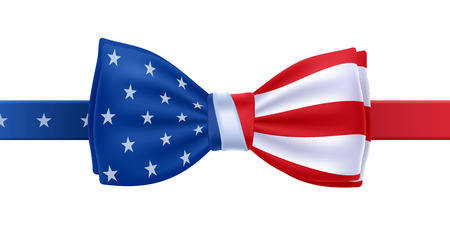 Illustration pour Bow tie with USA flag vector illustration. United States symbol on white background. Stars and stripes. National celebrations design. - image libre de droit