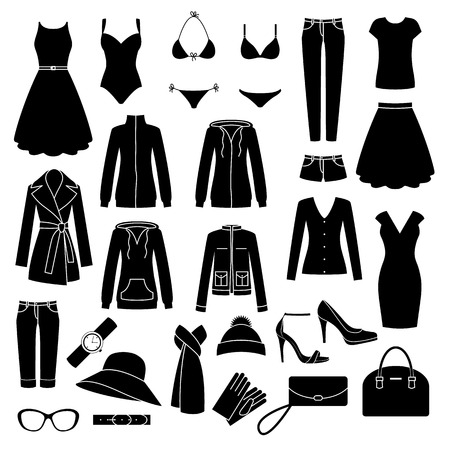 Illustration for Set of women\'s clothes and accessories icons. - Royalty Free Image