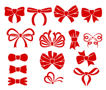 Illustration pour Set of different red bows icons. Holiday decoration. - image libre de droit
